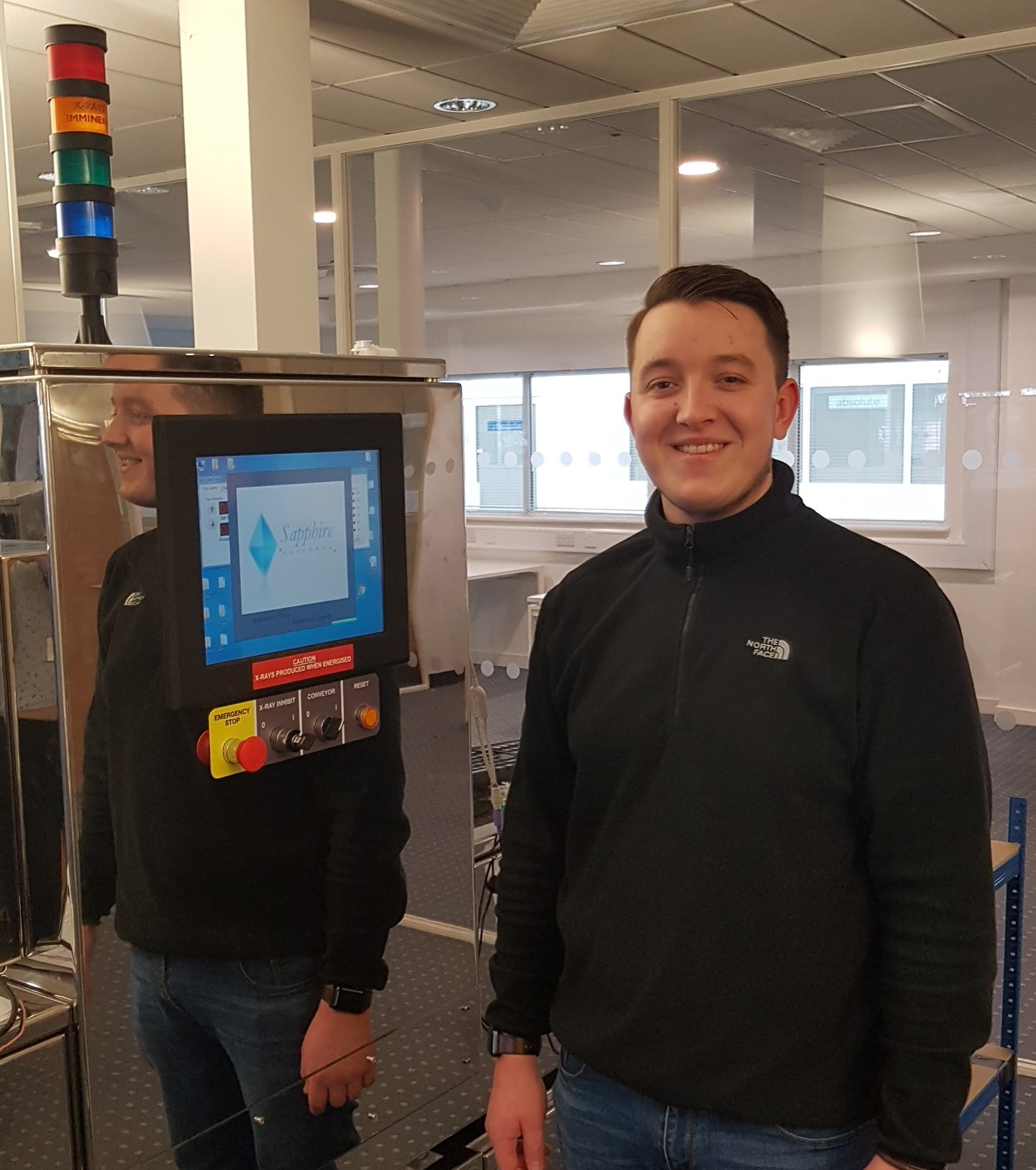 Josh at Sapphire with x-ray inspection system